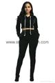 Velvet Hooded Crop Top And Long Pants Set 4