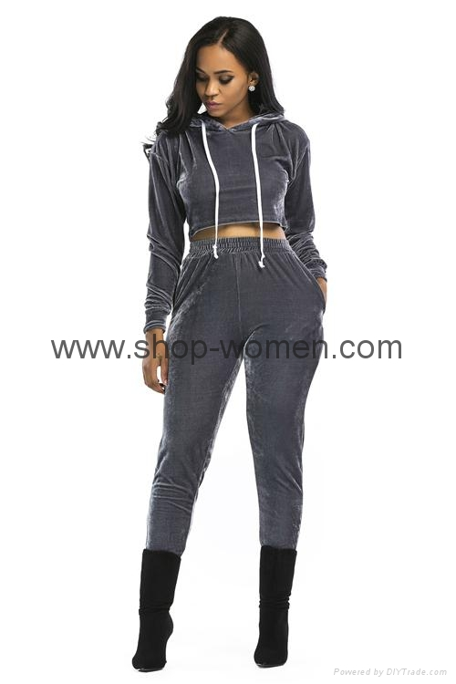 Velvet Hooded Crop Top And Long Pants Set 5
