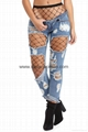 Broken Hole Fringed Jeans with Pockets With Net Pantyhose