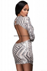 3/4 Sleeve Shining Sequined Bodycon Backless Dress
