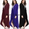 Long Sleeve Asymmetrical Drape Open Front Maxi Long Cardigan
