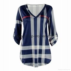 Plaid Stripes V Neck Shirt