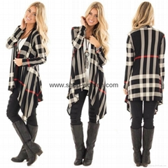 Womens Casual Plaid Open Front Irregular