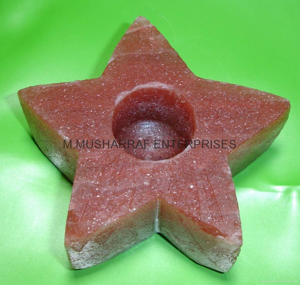 HIMALAYAN ROCK SALT STAR CANDLE HOLDER 1