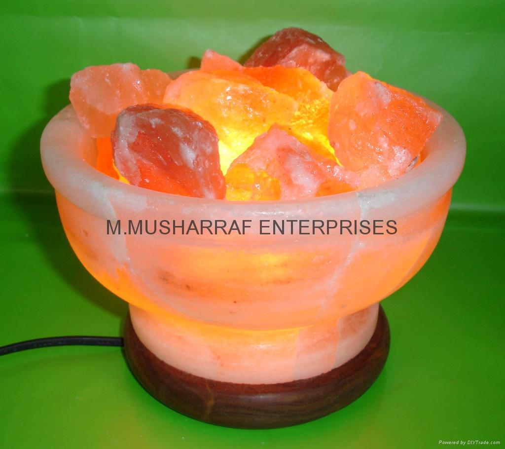 HIMALAYAN ROCK SALT CRYSTAL FIRE BOWL LAMP 1