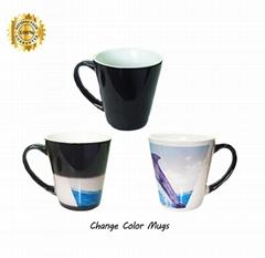 Sublimation Transfer Black Tapered Full Color Change Mug 12OZ