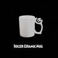 热升华白色陶瓷足球杯11OZ