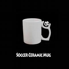 熱昇華白色陶瓷足球杯11OZ