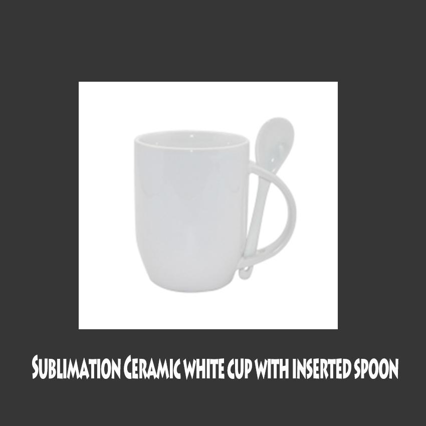 Sublimation 11OZ Heat Transfer Ceramic Mugs With Spoon