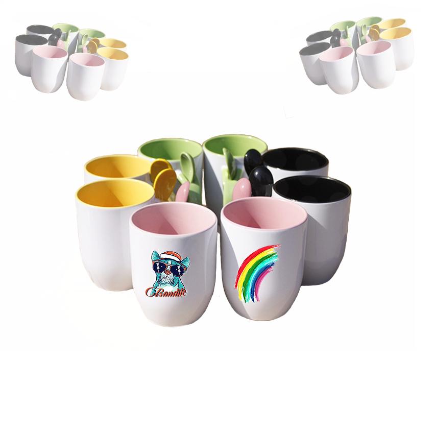 11oz熱轉印陶瓷插勺雙彩杯 2
