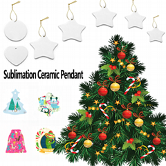 Blank Sublimation Ceramic Pendant For Christmas