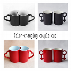 11OZ Sublimation Color Changing Couple Mugs