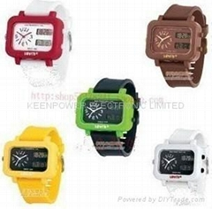Fluorescence double displayer unisex Watch