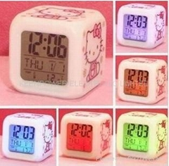 hellokitty 7 seven colors lights LCD Alarm desk Clock