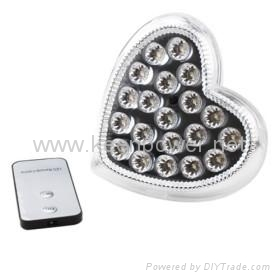 Remote Control 20 LED Rechargeable Emergency Light (Heart Shaped) 1