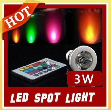 3W E27 Remote Control LED Bulb Lamp 16 Color Spot Light  1
