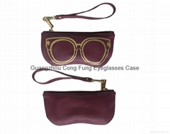 PU Leather Eyeglasses Bag , PU Zipper Bag , Handbag