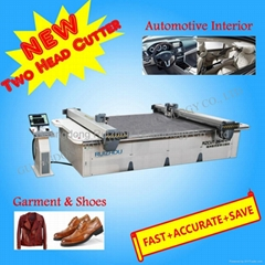 Two Heads Oscillation Knife CNC Leather Shoes Upper Cutting Machine