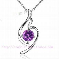 天然紫水晶925純銀柔美天使 (一)項鏈