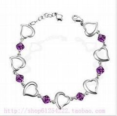 天然紫水晶925純銀心連心手鏈