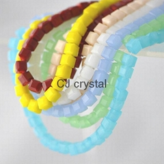 jewelry accessories cube beads faceted square glass beads wholesale