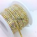 Rhinestone brass cup chain