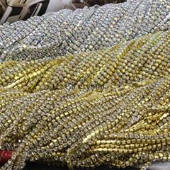 Rhinestone chain Trims, clear crystal AB Rhinestone Brass chain