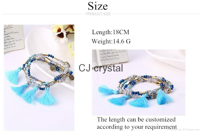 Wholesale fashion jewelry bracelet handmade charm crystal bracelet latest design 4