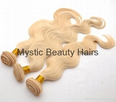 100% Human Hair Extensions Body Wave Brazilian Virgin Hair Lightest Blonde 613#