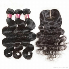 100% Human Virgin Hair Bundles With Lace Closure Body Wave Hair Extensions