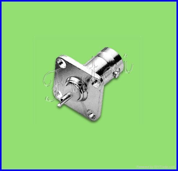 BNC female square  flange solder connector 1