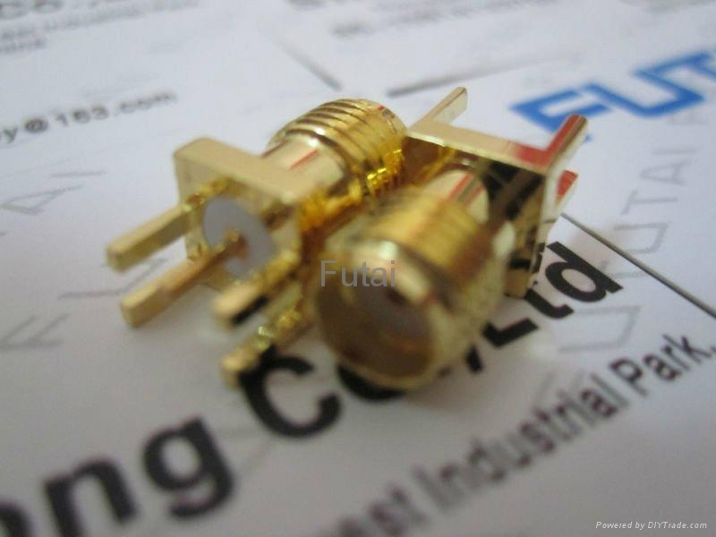 Gold Plated SMA RF Coaxial  Connector female PCB Edge mount 2