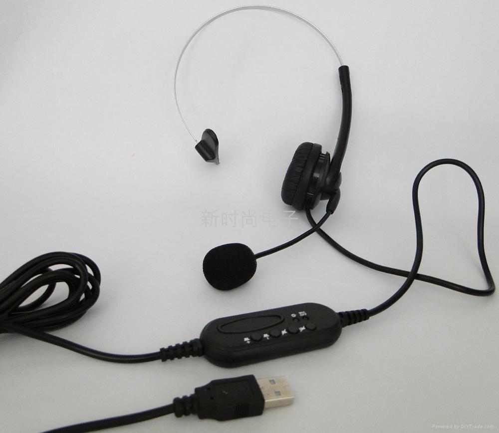 厂家批发高品质单耳头戴式usb话务中心耳机 3