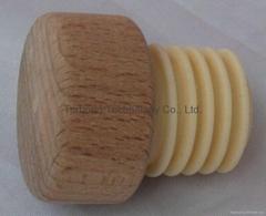 Wood cap synthetic cork wine bottle stopper WOLV29.5-2