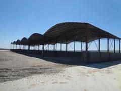 鋼結構料棚彩鋼棚料倉棚鋼結構大棚圓弧形料棚工地大棚