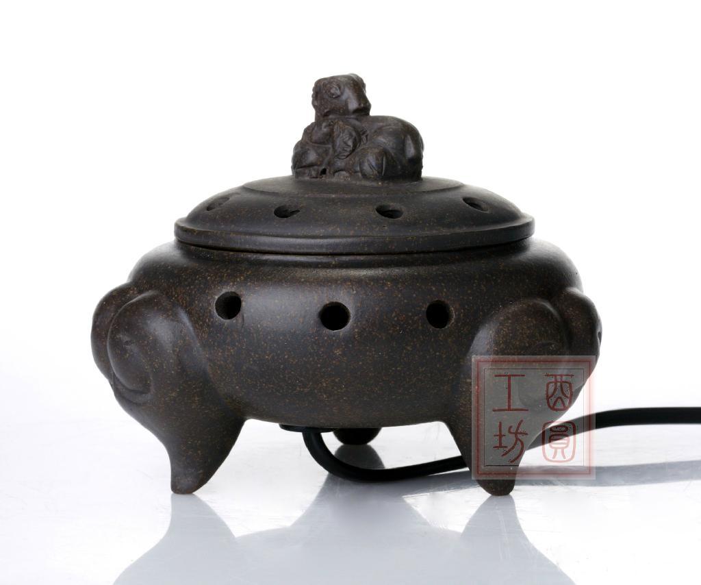 紫砂三羊開泰電子香燻爐 1