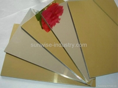 Silver and Golden Mirror Faced Aluminum Composite Panel for modern building