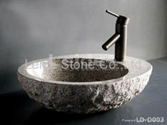 Natural stone bathroom sink rough exterior