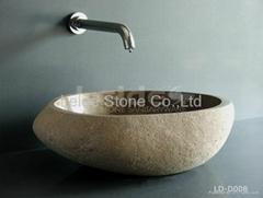 Cobble basin natural stone basin