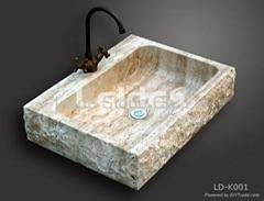 Beige travertine kitchen sink