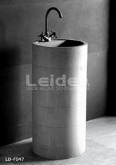 Round column pedestal basin granite sink