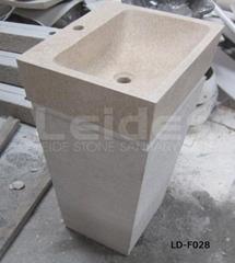 Beige marble pedestal wash basin
