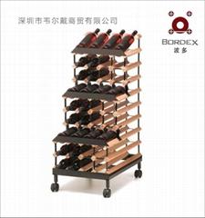 波多48瓶移动实木红酒展示酒架