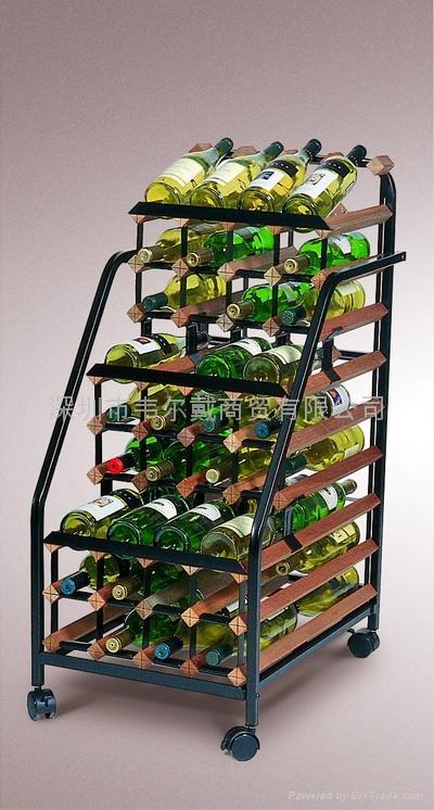 波多48瓶移动实木红酒展示酒架 2