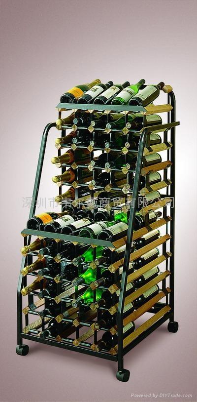 波多48瓶移动实木红酒展示酒架 3