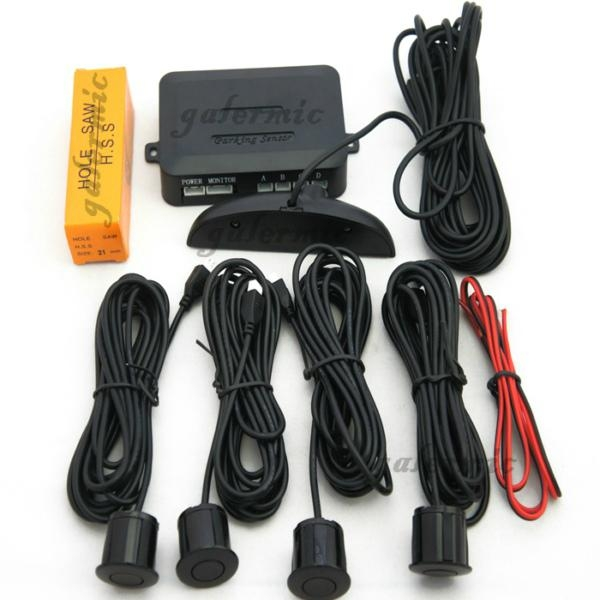 Car LED parking sensor system with 3 stage indicator&buzzer with 4 sensor system 4