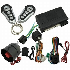 Remote engine start car alarm system with automatic car door lock trunk release