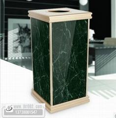 绿色大理石果皮箱