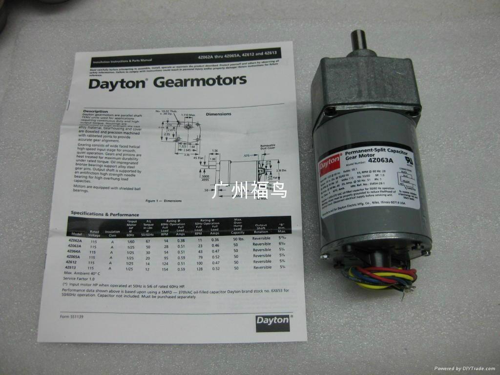DAYTON电机, 马达, 型号: 4Z063A