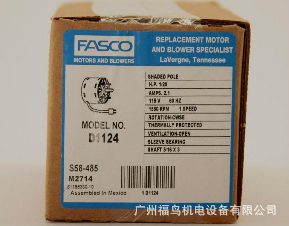 FASCO電機, 馬達, 型號: D1124